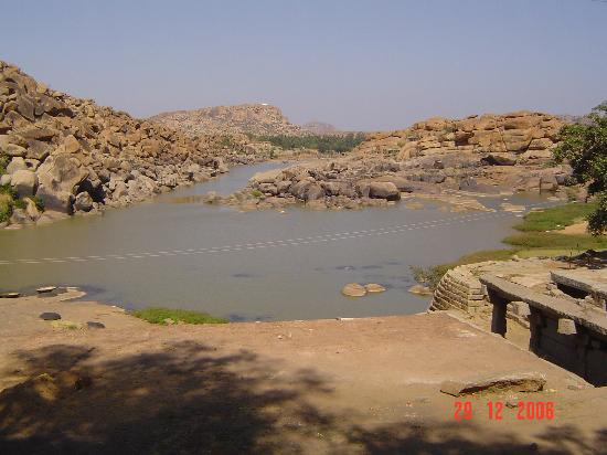 Banks of Tungabadra river- Purandara Mantapa - Hampi