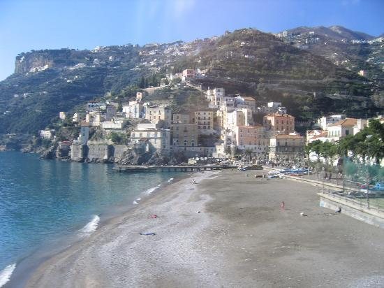 Beach, pier, and lungomare/boardwalk of MInori in January