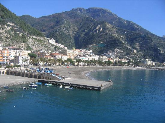Beach,  downtown area, and rather new port of Maiori
