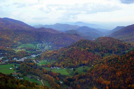 Maggie Valley from a helicopter