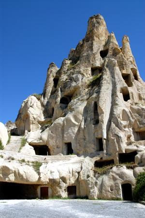 Goreme, Turkey: Close-up view of the civilisation carved out from rock