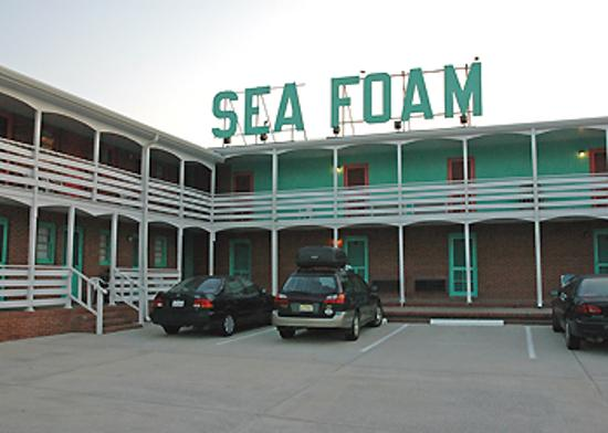 Sea Foam Motel: Sea Foam sign on building