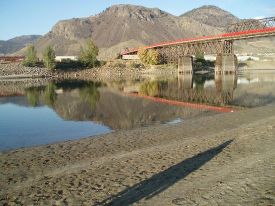 Kamloops, : South Thompson River by The Red Bridge. Mount Peter &amp; Mount Paul on the Kamloops Indian Band...