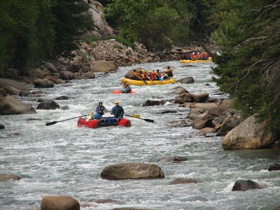 Durango, CO: you can see people white water rafting in Animas River along train ride