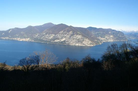 Iseo, Italy: view from room - alps in distance
