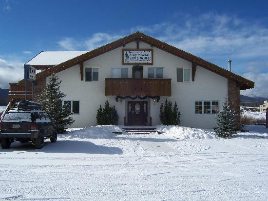The Rocky Mountain Chalet: The Facade, after a night of snow-fall.