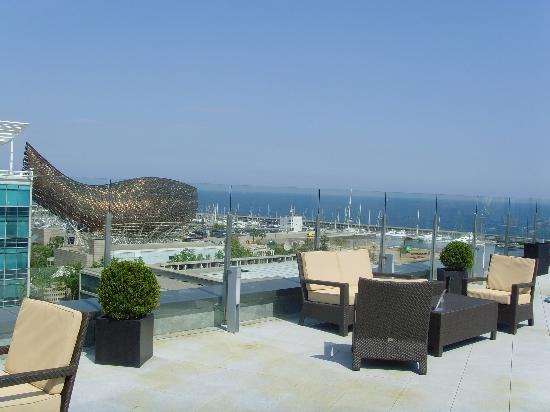 Pullman Barcelona Skipper: View from the roof pool terrace
