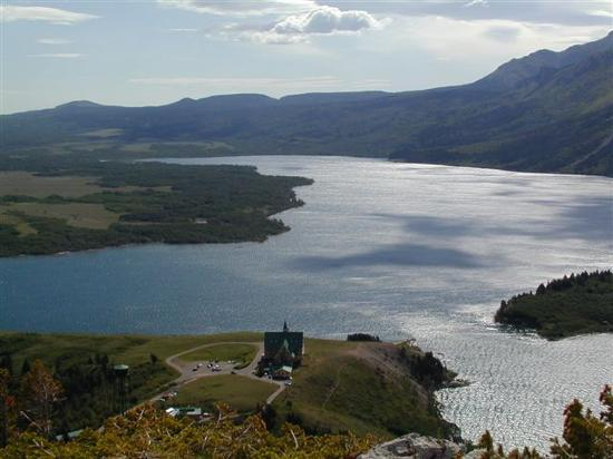 Waterton Lakes National Park, Canada: View from hill above Prince of Wales Hotel