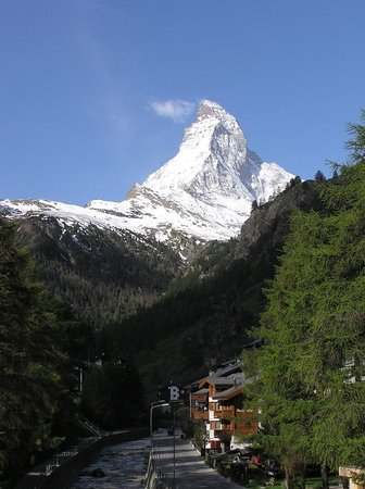 Morning view of the Matterhorn from Zermatt