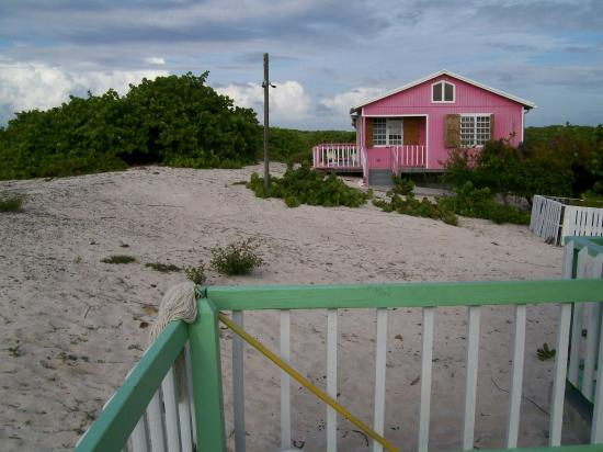 Lo'Lolly Beach Cottages: The view from our deck of the pink cottage
