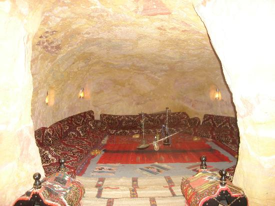 A bedouin tea room carved right into the mountain