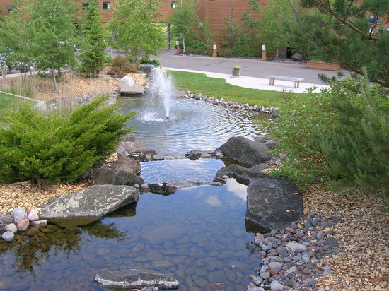 Two Harbors, MN: The fountain in front of the resort