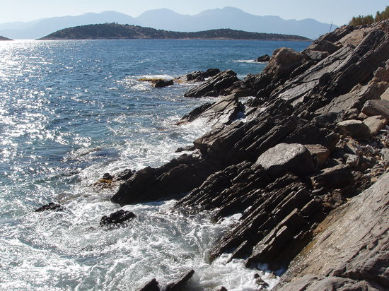 Agios Nikolaos, Greece: Windy day on the beach