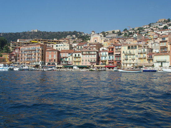 Villefranche-sur-Mer, France : View of hotel & front from boat
