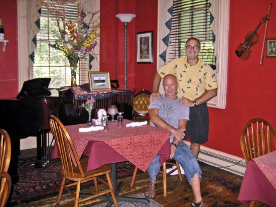 Railroad House: Us - sitting in the Music Room (where breakfast is also served)