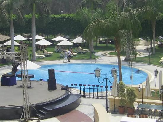 Concorde El Salam Hotel: Pool and stage area.