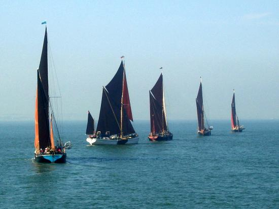 Essex, UK: Thames Sailing Barges from the end of Southend Pier