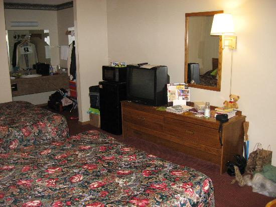 Comfort Inn West: Room - TV, Fridge, and Microwave (and all of our gear...)