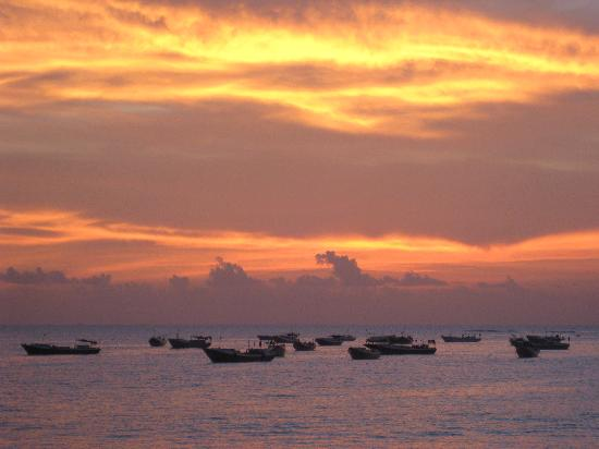 Boats seen from Jimabaran beach Bali.
