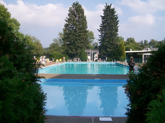 Monticello, NY: outdoor pool , pretty greenery