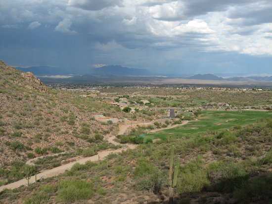 Fountain Hills, AZ : View from room - rain over mountain