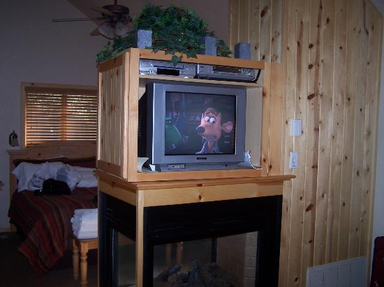 Shadow Mountain Lodge and Cabins: TV and Fireplace in Living Room