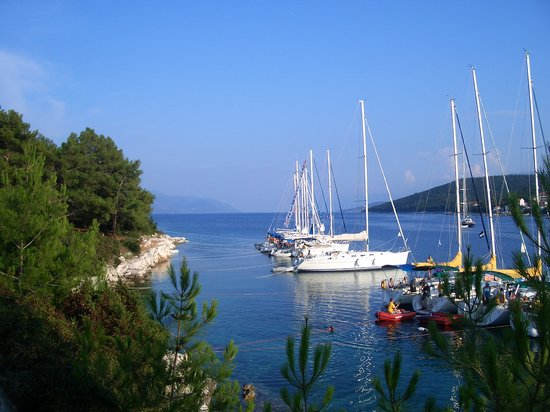 Ionian Islands, Greece: View from Fiskardo harbour entrance