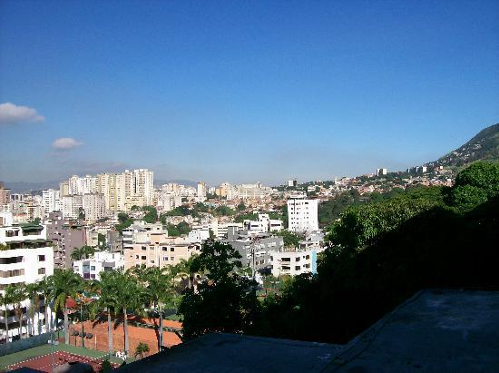 Hotel Avila: tennis courts, Caracas to left and El Avila rising to right