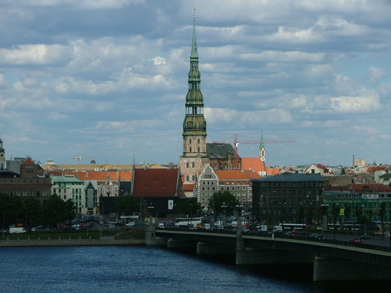 Riga, Latvia: St Peter&#39;s church in the distance