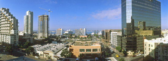 San Diego, Californie : Panoramablick auf Hafen 