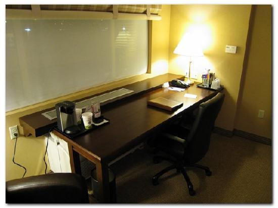 Sheraton Midwest City Hotel: Great size work desk, but note the teeny coffee maker with paper cups