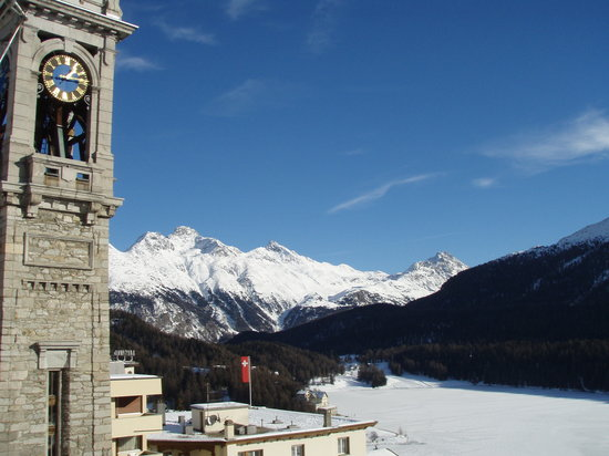 St. Moritz, Schweiz: View from the spa area on the 6th Floor