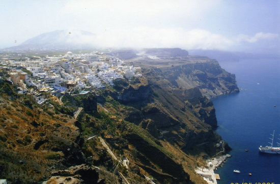 Kamari, Greece: View of Fira