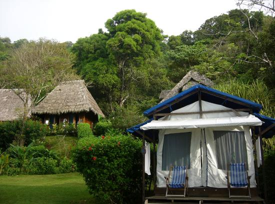 Corcovado Lodge Tent Camp: Our tent, and the shared facilities and restuarant