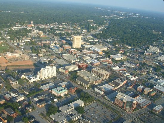 Spartanburg, Güney Carolina: Aerial view of downtown