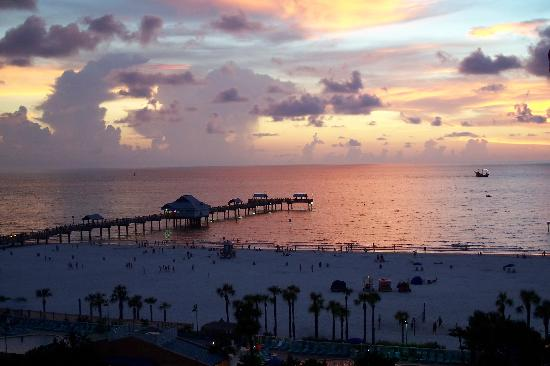 Clearwater Beach: sunset over pier