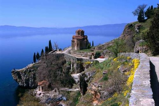 Republic of Macedonia: lake Ohrid and monastery