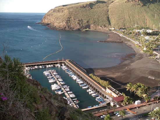 San Sebastian de la Gomera, Spain: View of the ferry harbour from the Parador gardens