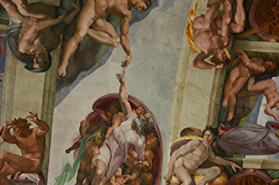 Close Up Of Ceiling Panel By Michaelangelo Downfall Of