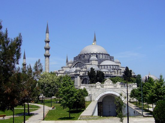 , : Sleymaniye Camii photographed from back campus of stanbul niversitesi