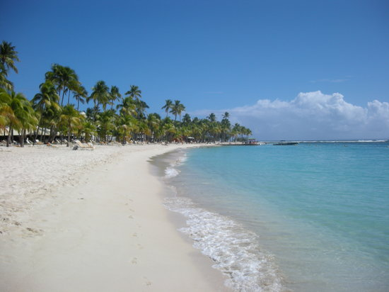 White sand at beach La Caravelle, Guadeloupe