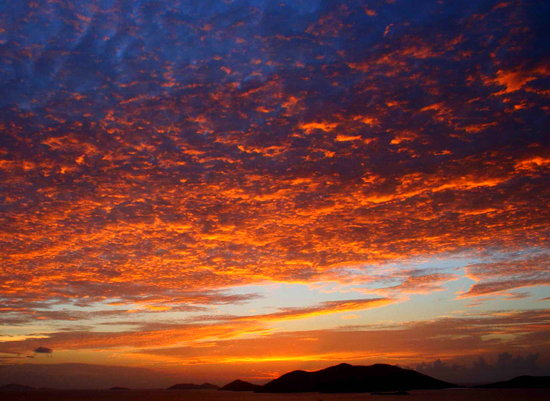 British Virgin Islands: Sunset from northside of Tortola