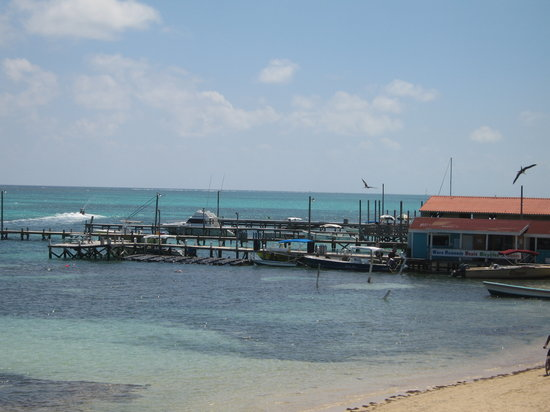 Cayo Ambergris, Belice: A view of a local dock from Blue Moon's in San Pedro