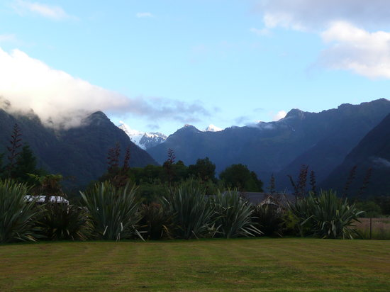 Fox Glacier, New Zealand: view of Mt Cook from outside our room