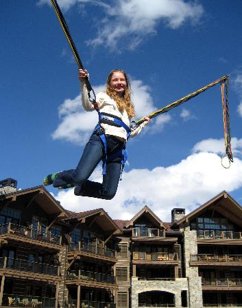 My daughter on bungee swing in the village picture of for Swingvillage