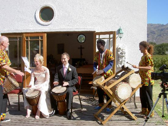 Le Manoir de Brendel Estate: Us with African Drummers