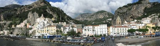 Amalfi, Italy: Panorama of foreshore and town