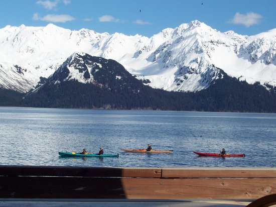 Seward, : Deck of Saltwater Lodge