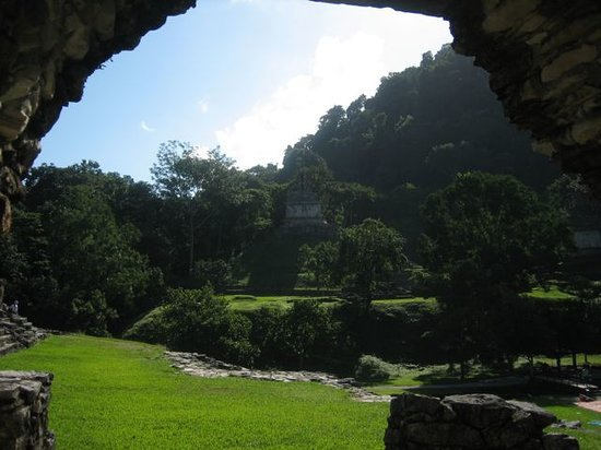 Palenque, Mexico: inside looking out to main pyramid