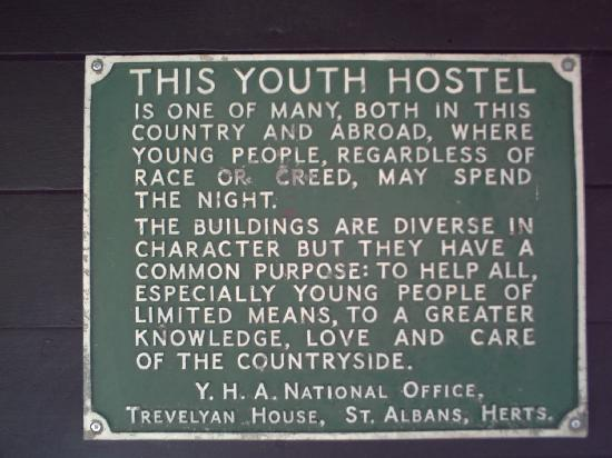 Historic sign, Jordans YHA: From Review: Nice traditional country youth